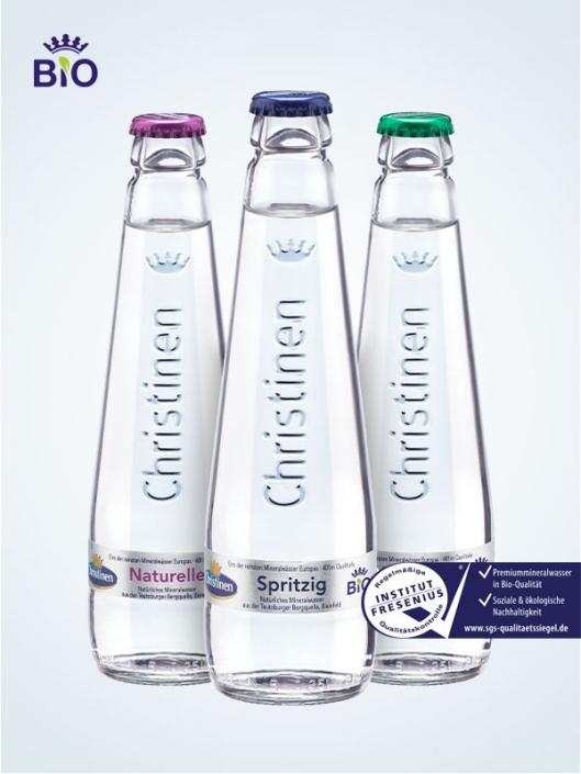 Christinen Premiummineralwasser in Bio-Qualität, 0,25l Glas, Gastro, Mehrweg