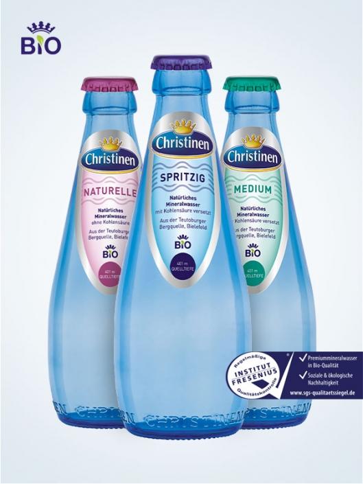 Christinen Premiummineralwasser in Bio-Qualität, 0,25l Glas, Mehrweg