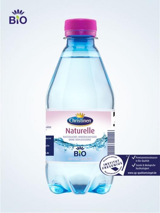 Christinen Premiummineralwasser in Bio-Qualität, Naturelle, 0,33l PET, Einweg