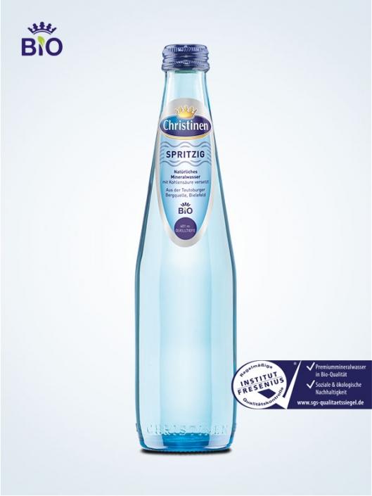 Christinen Premiummineralwasser in Bio-Qualität, Spritzig, 0,33l Glas, Mehrweg