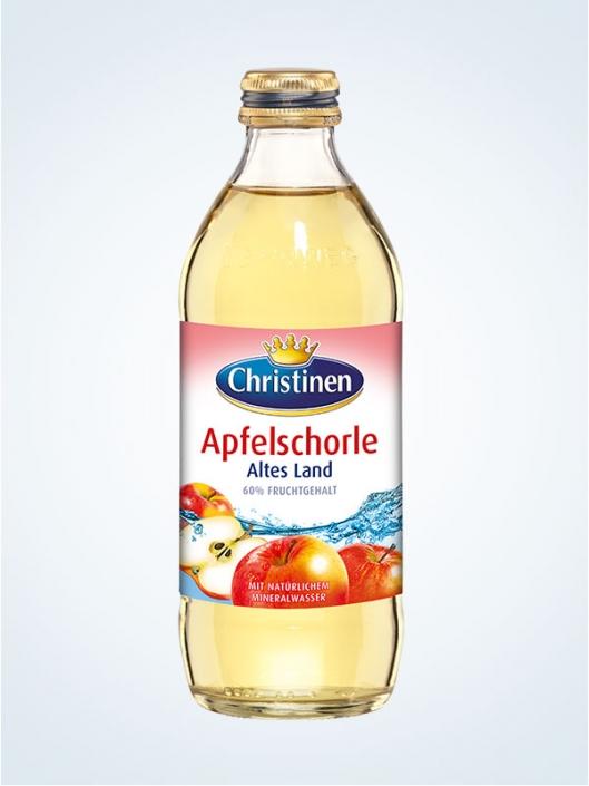 Christinen Apfelschorle Altes Land, 0,33l Glas, Mehrweg