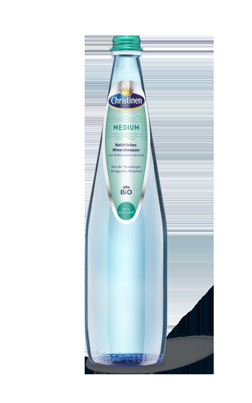 Christinen Premiummineralwasser in Bio-Qualität, Bio Medium, 0,75l, Blauglas, Mehrweg