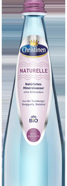 Christinen Premiummineralwasser in Bio-Qualität, Bio Naturelle, 0,75l, Blauglas, Mehrweg